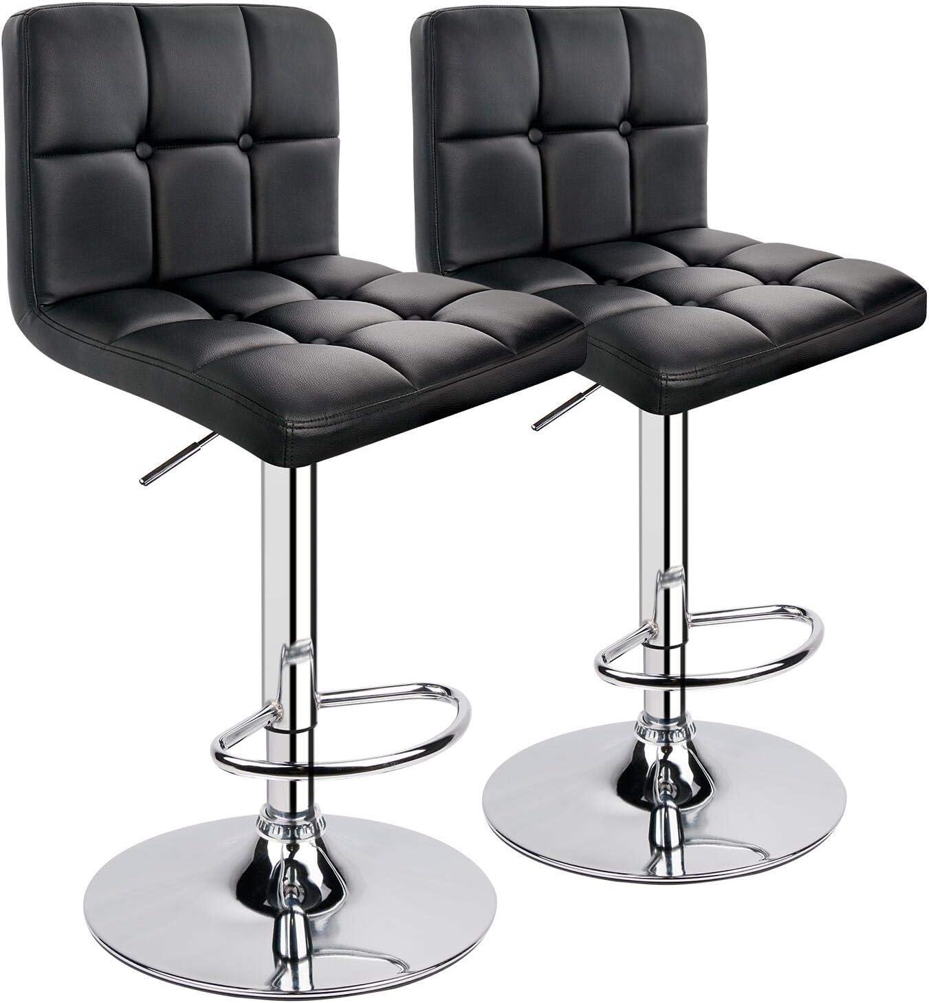HOMEKOKO Modern Adjustable Barstools, Square Counter Height Stool, Swivel Leather Bar stools Set of 2, Black