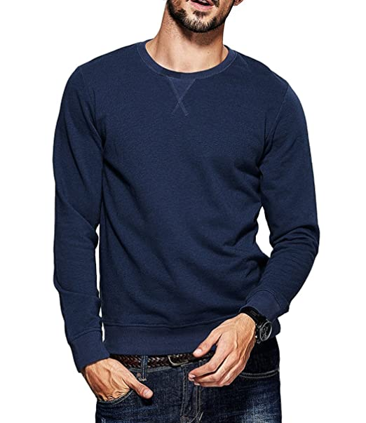 48b6dc68bcd fanideaz Men s Round Neck Full Sleeve Cotton Rich Denim Blue Sweatshirt