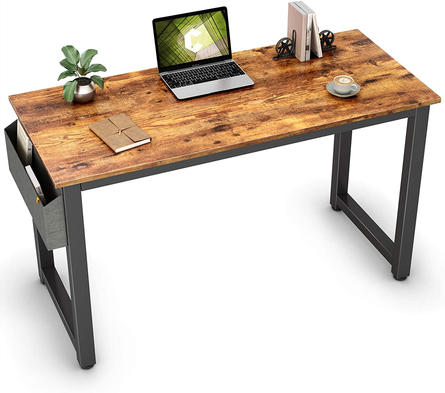 """Cubiker Computer Desk 40"""" Sturdy Office Desk Modern Simple Style Table for Home Office Use, Notebook Writing Desk with Extra Strong Legs, Rustic Brown"""