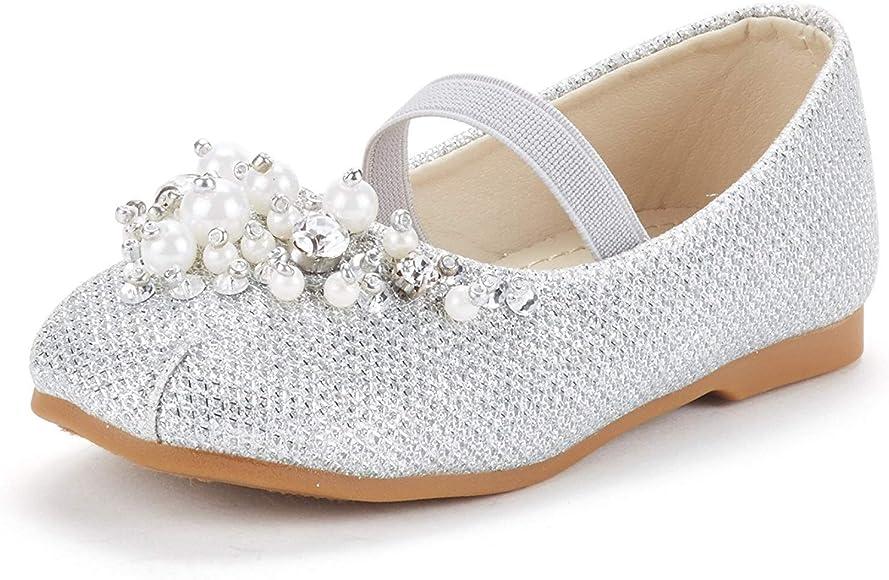 Girls Mary Jane Sparkle Ballerina Flat Flower Girl Shoes Toddler//Little Kid