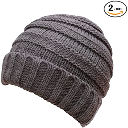 99ad0ef5e7d Amazon.com  DEMTER Unisex Winter Warm Cable Knitting Hat Parent-child Hats  Wool Baggy Slouchy Thick Beanie Skull Cap for Women Men 2 Packs (Dark  Grey)  ...