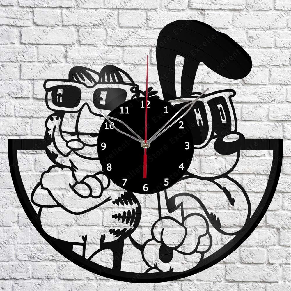 Vinyl Clock - Garfield and Odie - Handmade Wall Clock - Vinyl Art Home Decor - Unique Vinyl Record Wall Clock - Exclusive Custom Vinyl Record Clock - Original Gift Idea