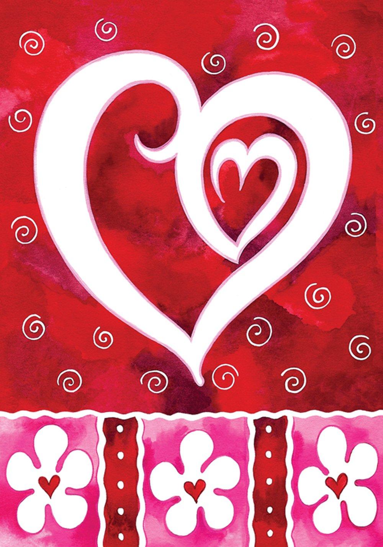 Toland Home Garden Heart & Flowers 28 x 40 Inch Decorative Valentine Day Love House Flag