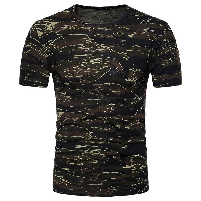 Rawdah Camiseta de Manga Larga con Estampado de Camuflaje y Estampado de Camuflaje para Hombre (