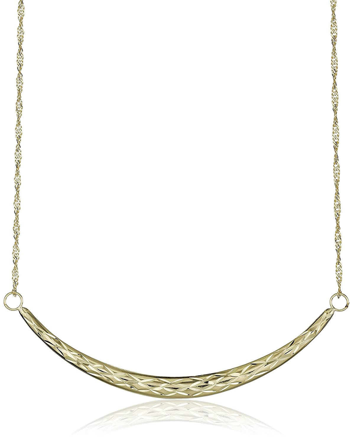 10k Yellow Gold Curved Bar Necklace, 17""