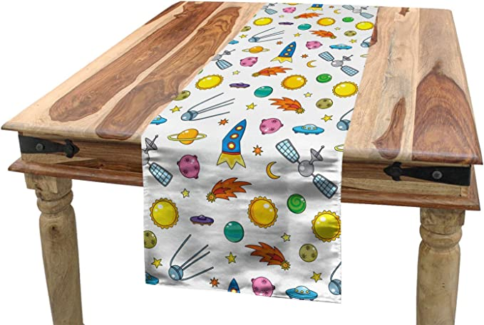 Ambesonne Spaceship Table Runner Assortment Of Space Related Concepts Shooting Star Ufo Sun Moond Stars Dining Room Kitchen Rectangular Runner 16 X 120 Multicolor Home Kitchen