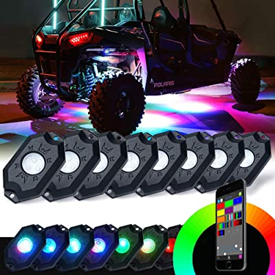 Xprite RGB LED Rock Lights w/Bluetooth Controller, Multicolor Neon LED Light Kit Timing Function, Flashing, Music Mode for Underglow Off Road Truck SUV - 8 Pods: Automotive