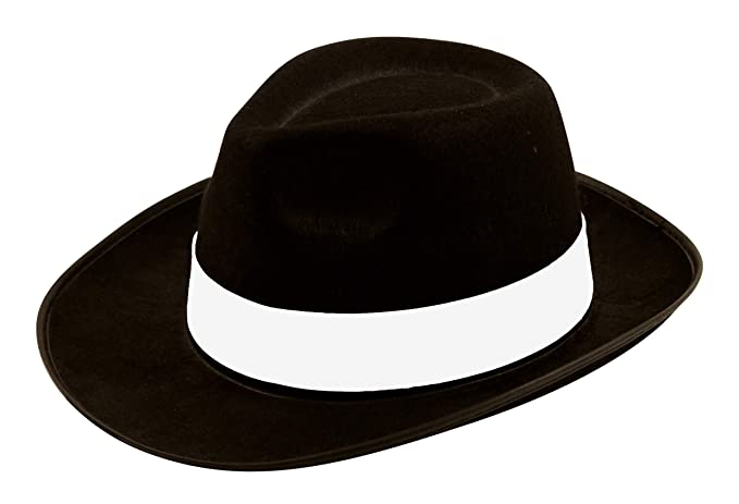 c4a1ed1ff7e Image Unavailable. Image not available for. Color  Henbrandt Men s Al  Capone Gangster Hat Ribbon One Size Black