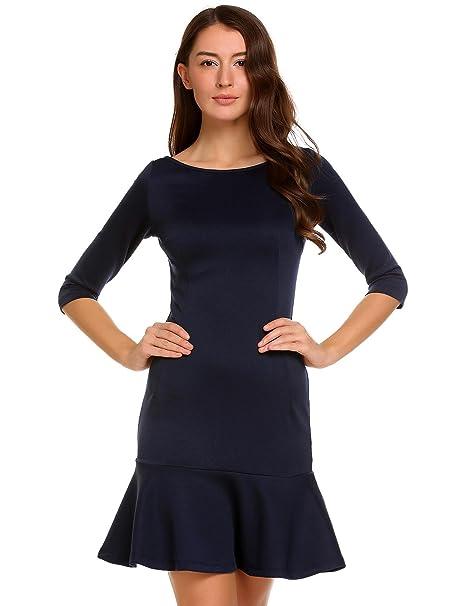 9dd66cc7a Meaneor - Vestido - Trapecio - Básico - para Mujer Azul Marino S   Amazon.es  Ropa y accesorios