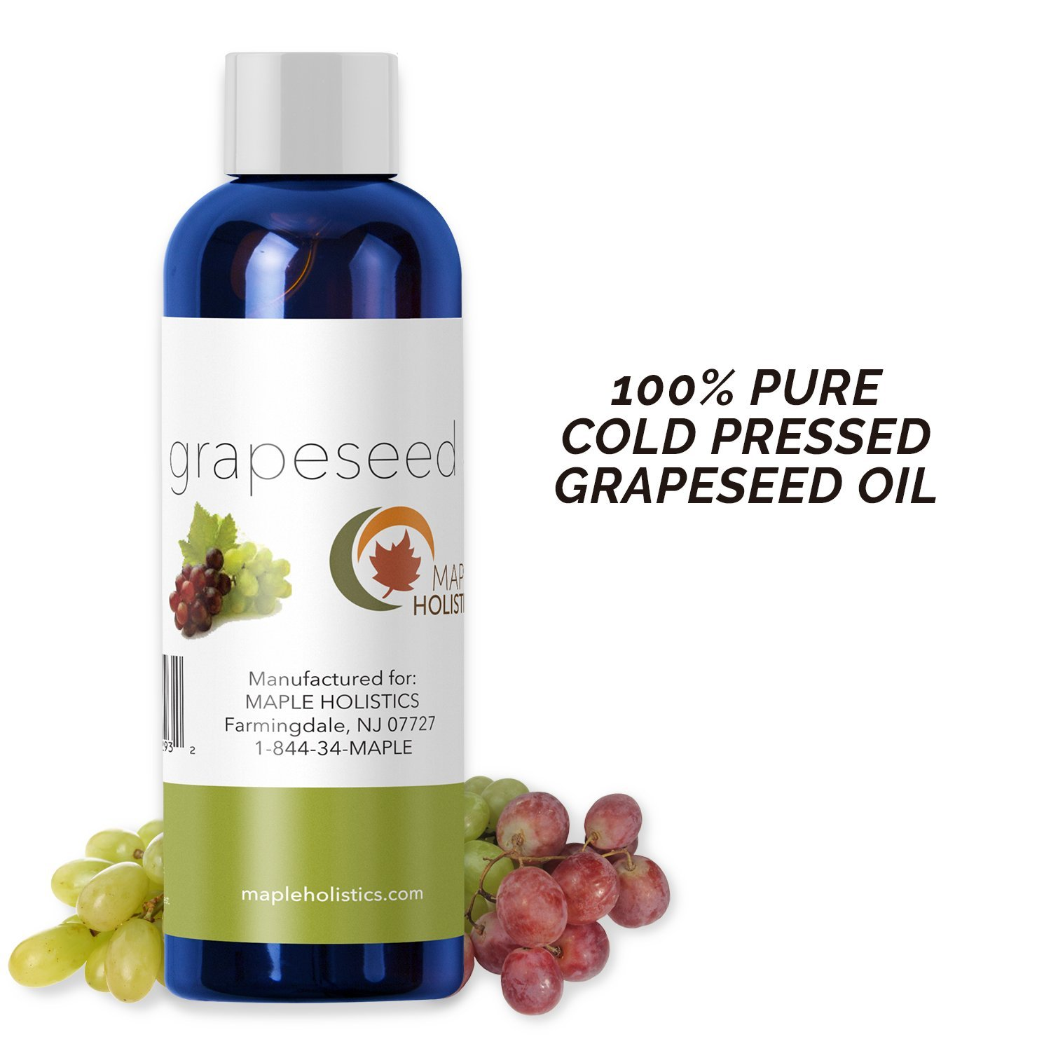 Pure Grapeseed Oil for Hair Face & Acne - Cold Pressed & 100% Pure for  Highest Efficacy - Great