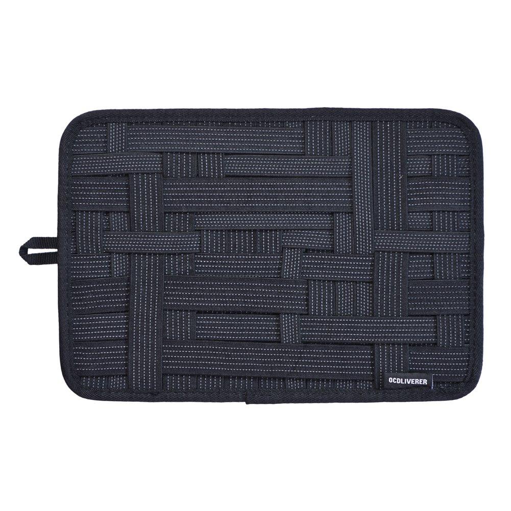 OCDLIVERER Grid Electronics Organizer Board, 12 x 8 in, with Upgraded Elastic for Backpack Organizer, Desktop IT Organizer, Travel Gear Organizer with Slider Back Pocket (Medium, Black)