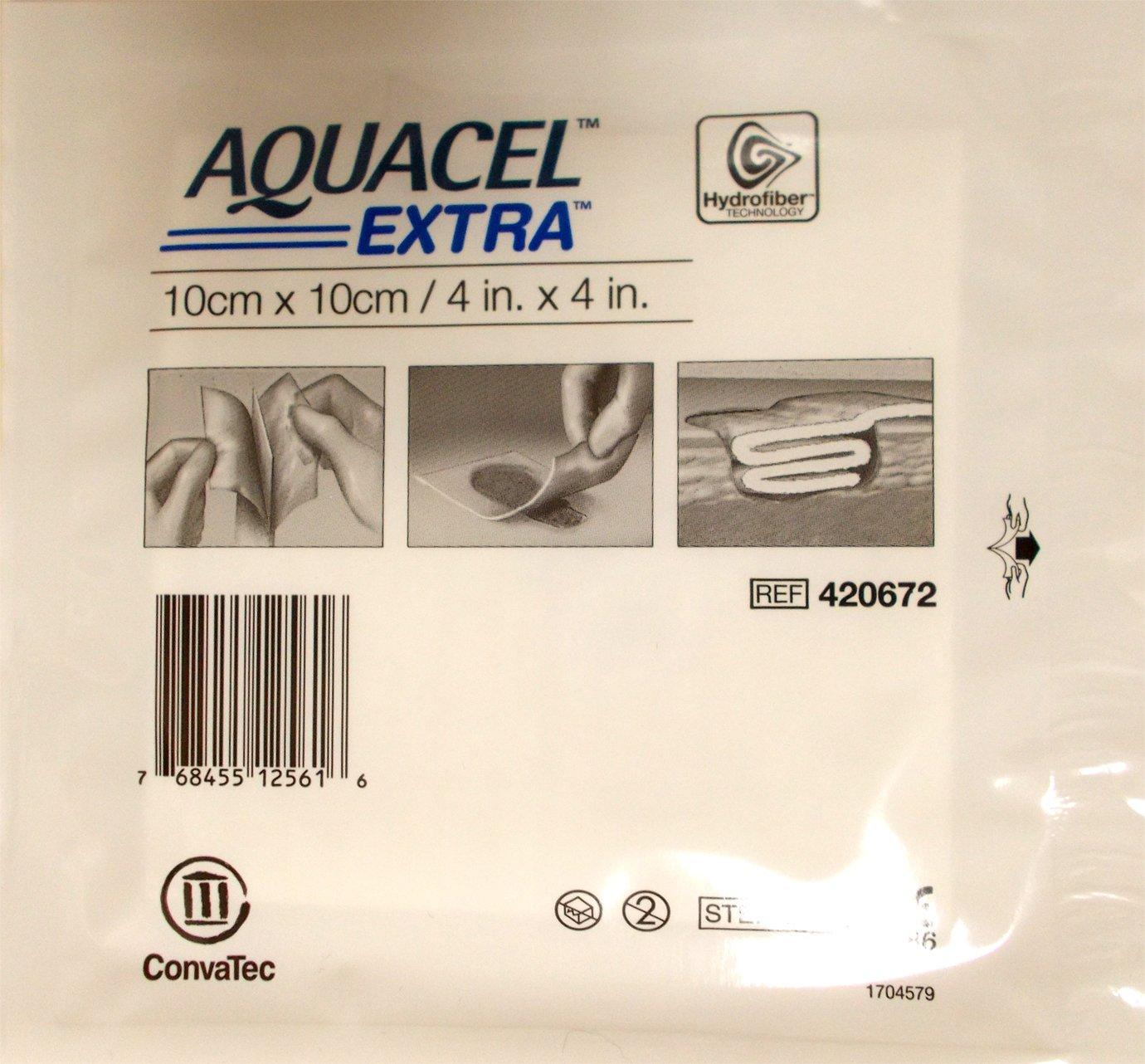 New and Improved AQUACEL® EXTRA Hydrofiber® Dressing 4'' x 4'' (10 Per Box) by Aquacel