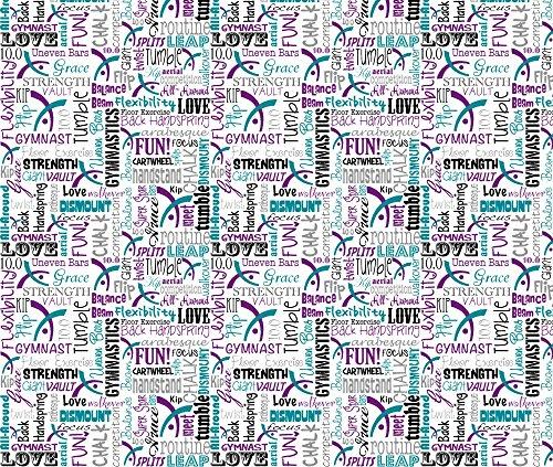 Leotard Fabric Gymnastics Words Purple & Teal by Heathertm13 Printed on Fleece Fabric by the Yard by Spoonflower