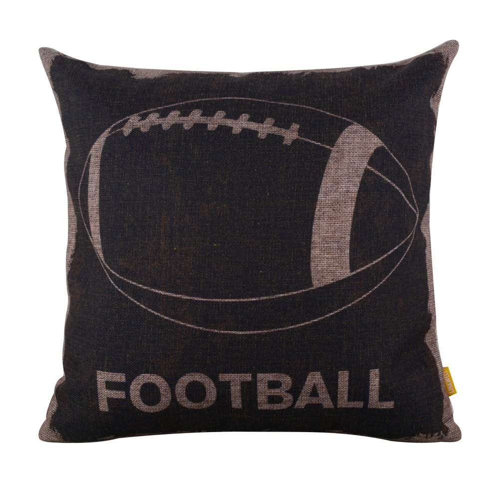 """LINKWELL 18""""x18"""" Vintage Black American Football Sports Burlap Cushion Covers Pillow Case"""