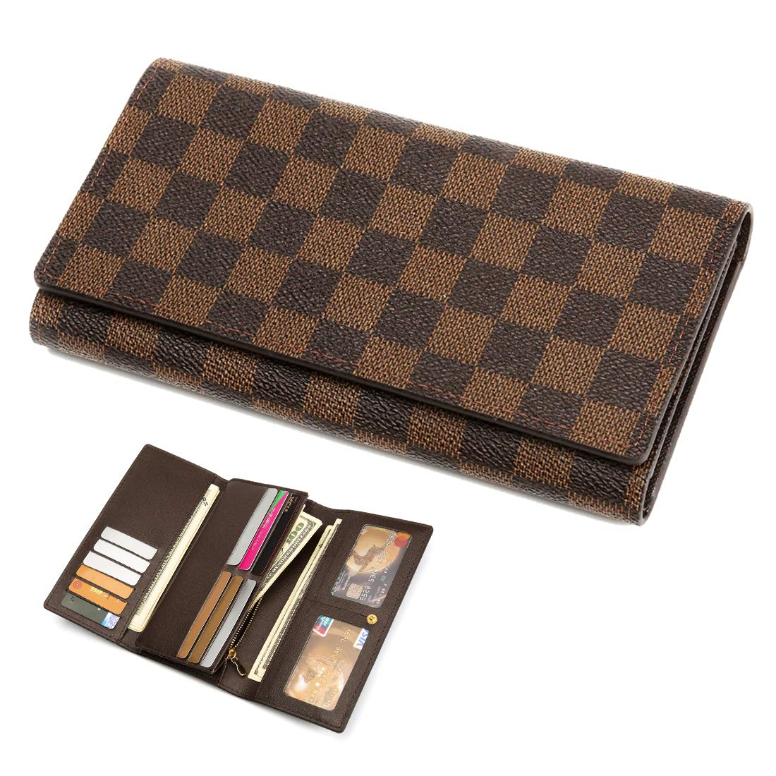 Wallets for Women Leather Trifold Clutch Checkbook Purse RFID Blocking with Credit Card Holder Organizer (Brown) by CG Gold