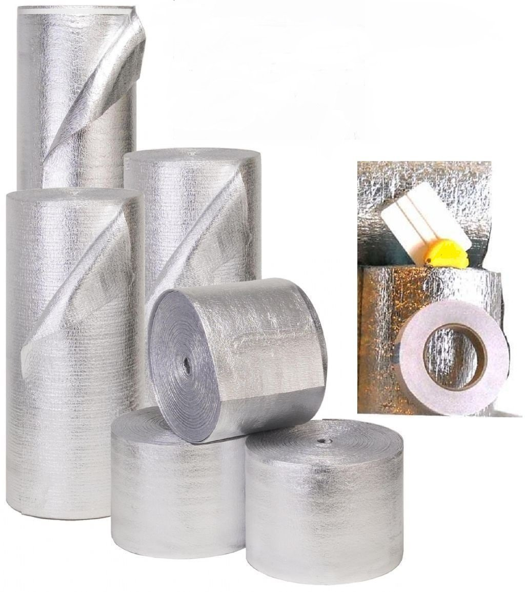 MWS Reflective Foam Core Insulation Kit: Roll Size 48'' x25' Includes 25' Foil Tape, Knife & Squeegee.
