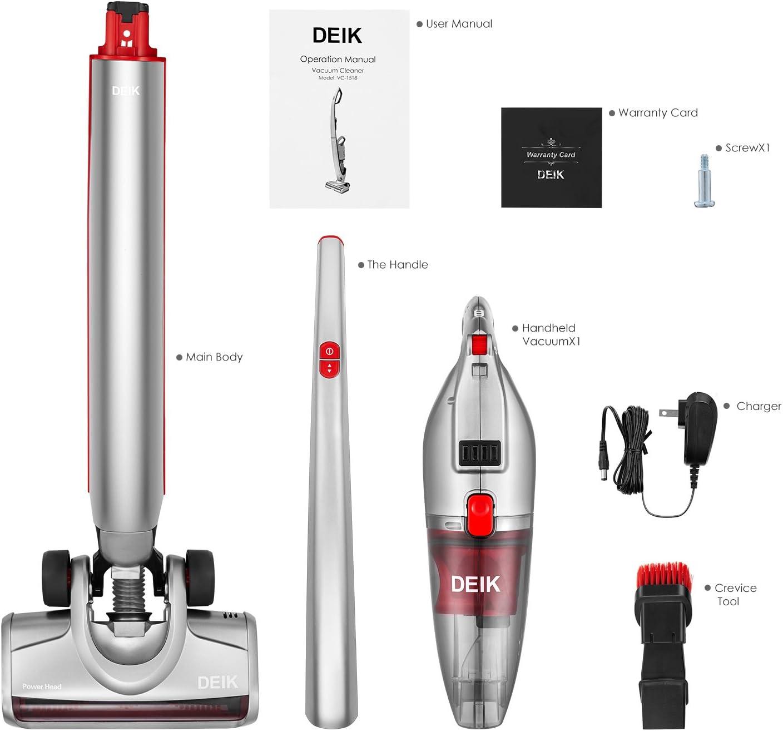 deik aspirador inalámbrico, 2 in1 Aspiradora Potente batería sin bolsa Aspiradora, fuerte absorción, fácil – Aspiradora de mano con batería de iones de litio (, funcionamiento hasta 30 minutos: Amazon.es: Hogar