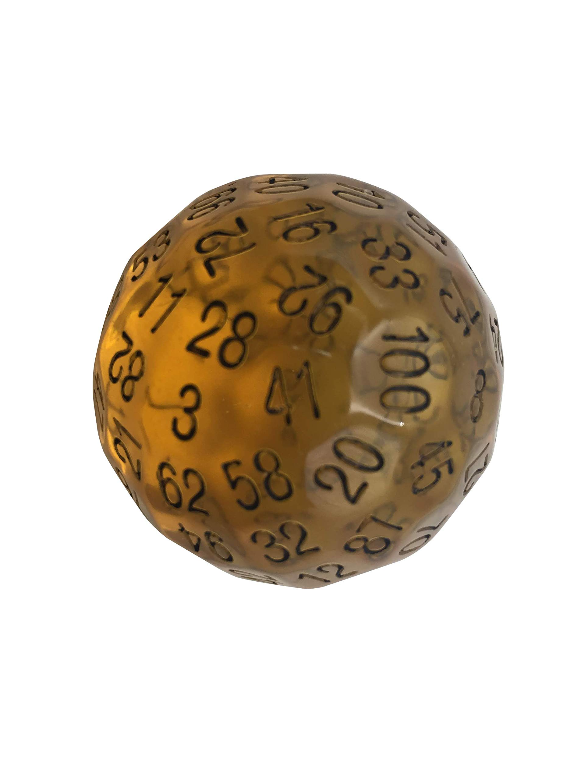 Skull Splitter Dice Single 100 Sided Polyhedral Dice (D100) | Translucent Amber Color Die for RPGs (45mm) by SkullSplitter Dice