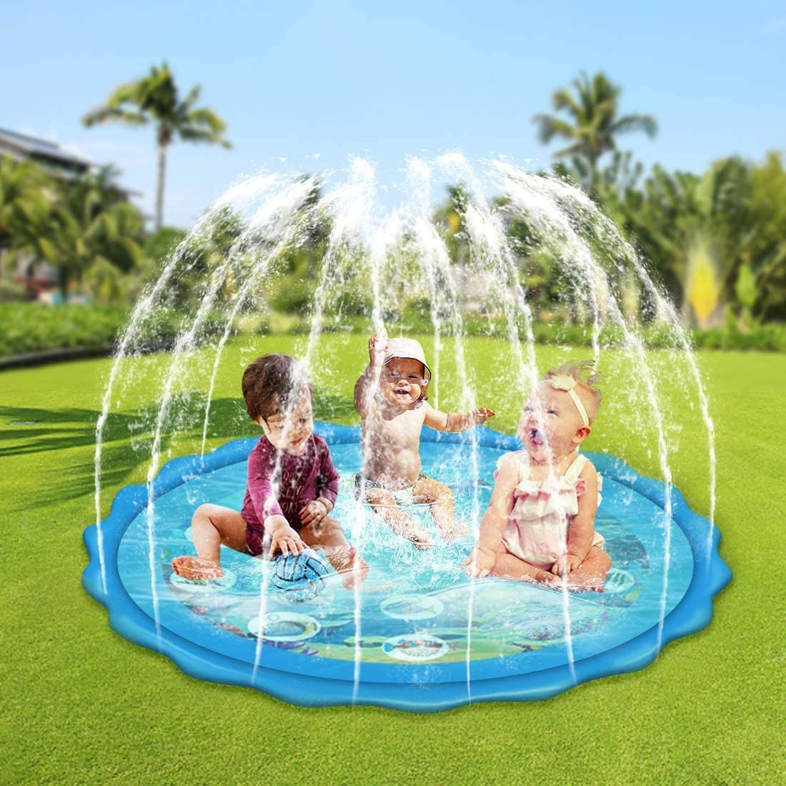 Large Splash Pad,Inflatable Water Mat Toys,1-12 Year Old Children/'s Fun Sprinkler Wading Pool for Learning MHDYT Water Sprinkler for Kids 67/″Oversized Outdoor Swimming Pool for Babies and Toddlers