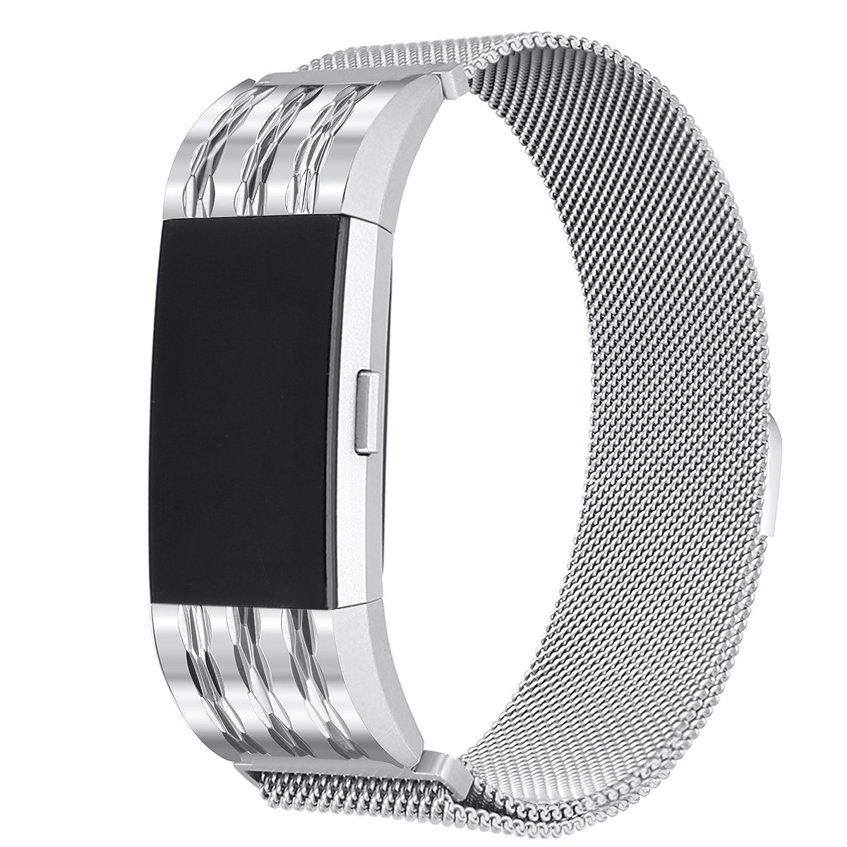 bayite For Fitbit Charge 2 Bands, Metal Stainless Steel Milanese Loop Metal Replacement Accessories Bracelet Strap with Unique Magnet Lock Large, Silver with Rhombus Pattern