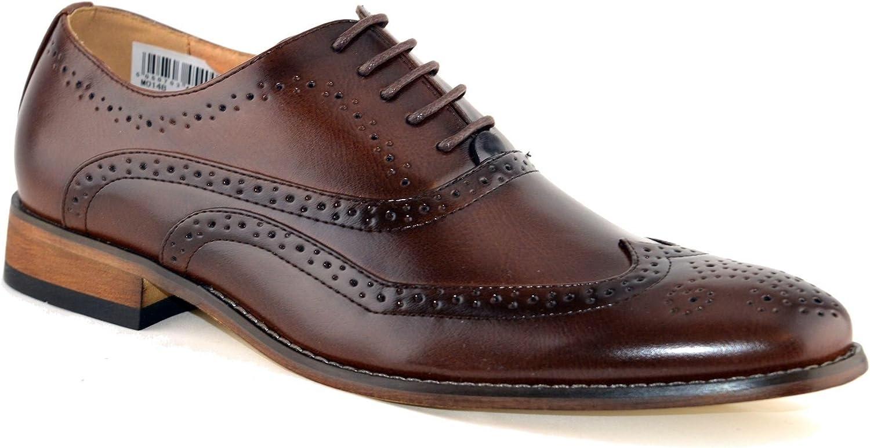 Zapatos de piel con cordones para hombre, diseño calado, talla 6-12