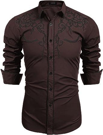 Lamore Camisa Hombre Manga Larga Vestido Estampada Flores Casual Botón de Moda