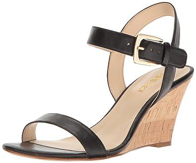 b9e553607c9c Nine West Women s Kiani Leather Wedge Sandal Black 8 ...