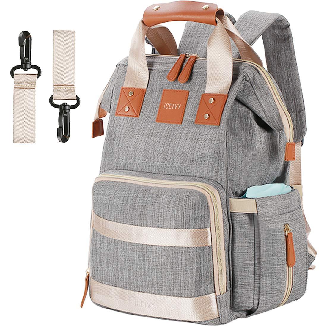 Backpack Diaper Bag Backpack, Baby Bag Baby Diaper Bag,Multi-Function Waterproof for Girl,Boy,Men,Mom,Dad, Large Capacity, Stylish,Durable,Gray Liyuan creative-US LYDB01