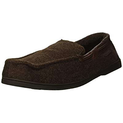 Dearfoams Men's Mixed Material Moccasin Slipper, Coffee, XL Regular US | Loafers & Slip-Ons