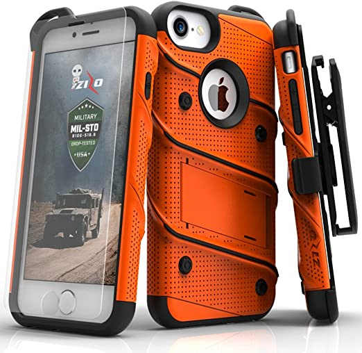 Amazon Com Zizo Iphone 8 Case Iphone 7 Case Bolt Series W Iphone 8 Screen Protector Kickstand 12 Ft Military Grade Drop Tested Holster Belt Clip
