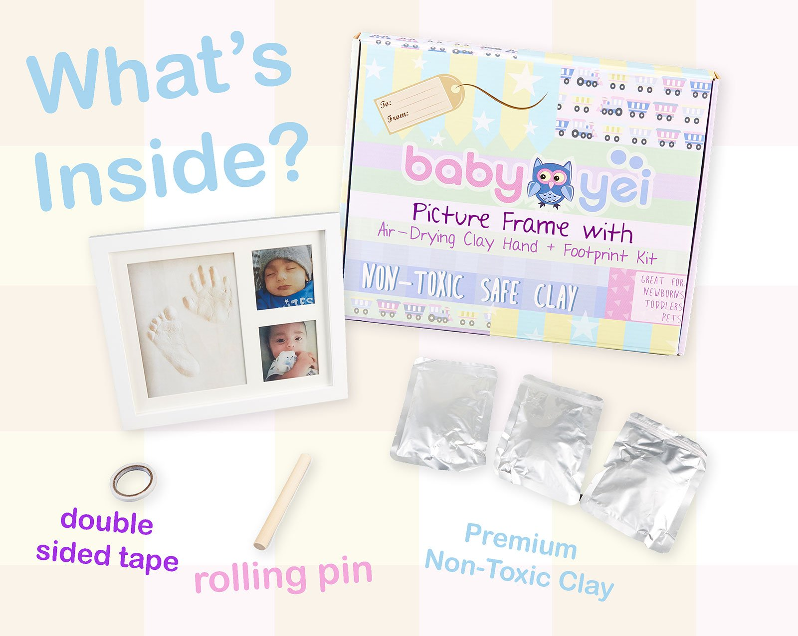 Baby Handprint Picture Frame Clay Kit for Newborn Girls and Boys by Baby Yei - The Photo Frames are Fully Painted White-Prevents Mold Creation-Safe for Treasuring your Angel's First Precious Memories by Baby Yei (Image #3)
