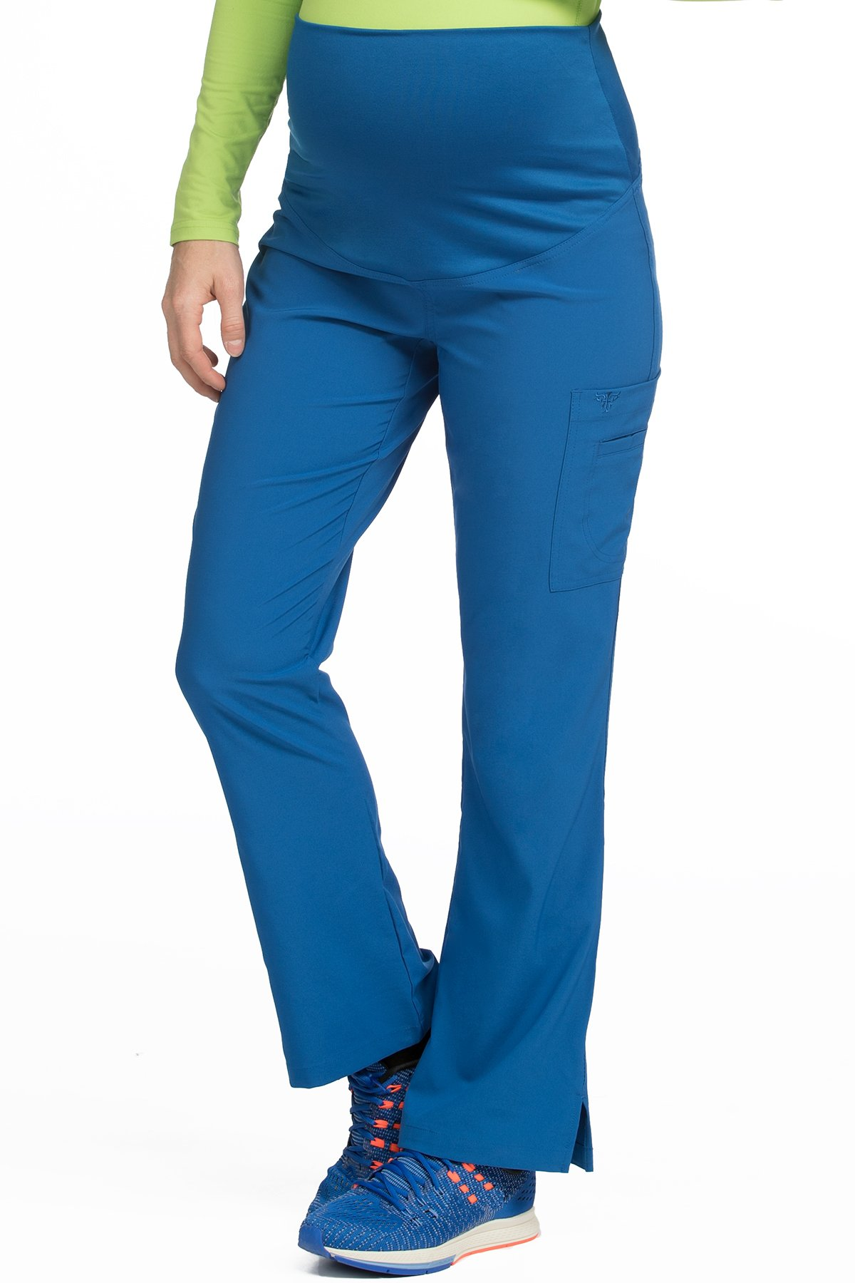 Med Couture Women's Knit Waist Maternity Scrub Pant, Royal, XXX-Large