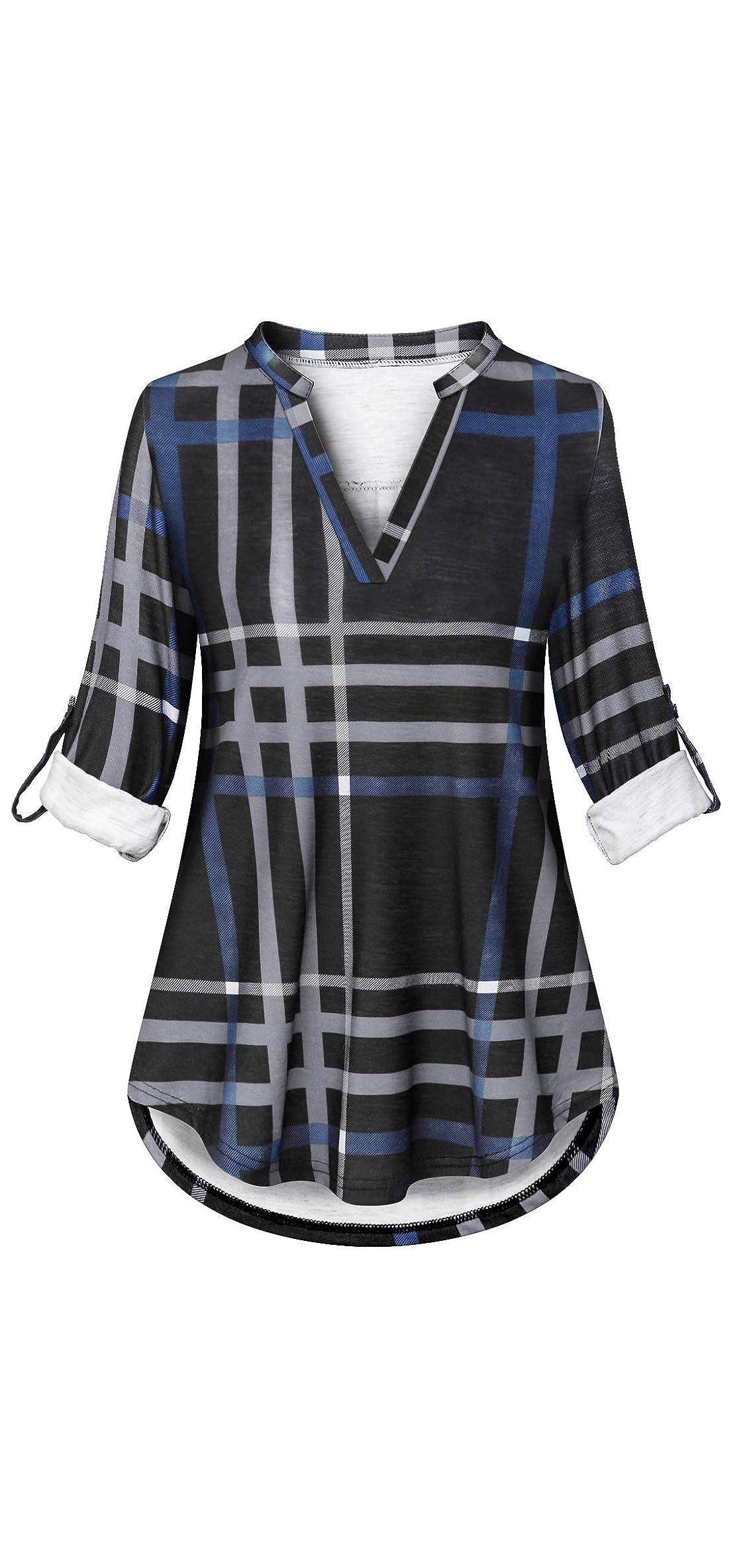 Women Autumn / Roll Sleeve V Neck Tunic Shirts Plaid