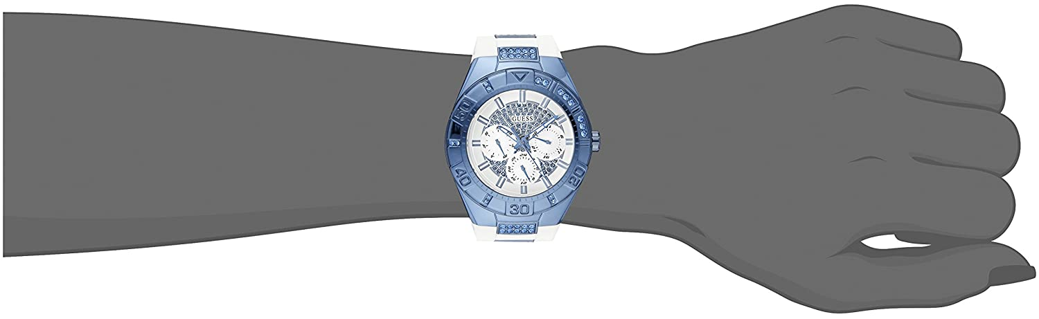 GUESS Women s U0653L2 Sporty White Silicone Watch with Sky Blue Accents and Multi-Function Dial
