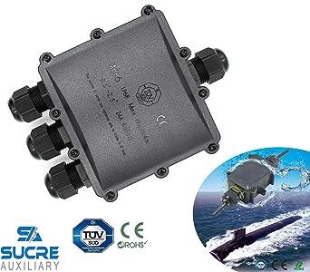 Sucre auxiliaire 24/A 450/V 4/Way 3/en 1/sortie Grande bo/îte IP68/connecteur de fil de c/âble /électrique /étanche Bo/îte de jonction Royaume-Uni 4 14/mm
