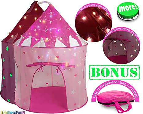 outlet store 86919 2269a Kids Play Tent with Light Princess Castle Children Playhouse Bonus Carrying  Case [ Pop Up Portable Glow in The Dark Stars Pink ] House for Girls Boys  ...
