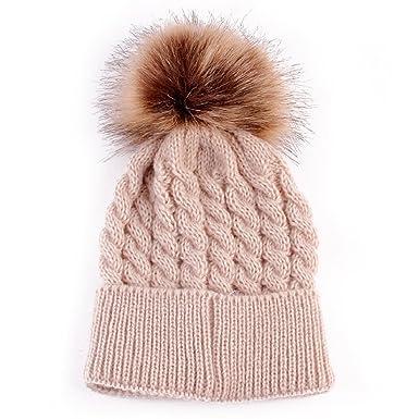 f3cdf66e609 Bodhi2000® Baby Pom Pom Beanie Warm Knitted Kids Faux Fur Hat Winter Hat Cap   Amazon.co.uk  Clothing