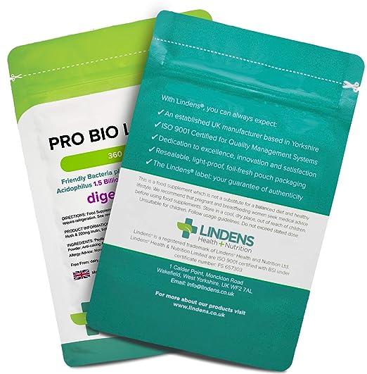 Lindens Probiótico Plus (+fibra dietética) en cápsulas | 360 ...