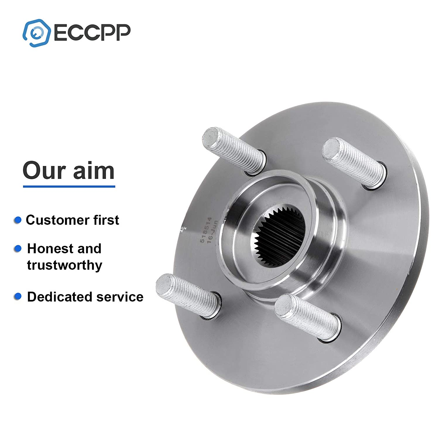 ECCPP Wheel Hub Bearing Assembly New Premium Bearing and Hub Assembly Front 4 Lugs for Saturn 1994-2002 Compatible with 518514