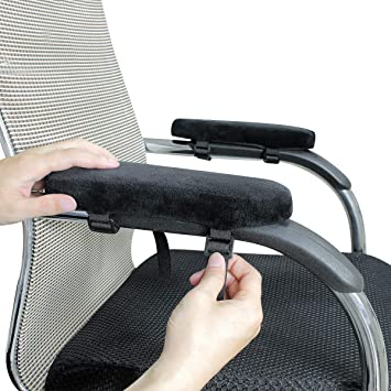 HINMAY Chair Armrest Pads Machine Washable 2 Pack High Density Memory Foam Office Chair Arm Rest Cover and Elbow Pillow for Elbows and Forearms Pressure Relief