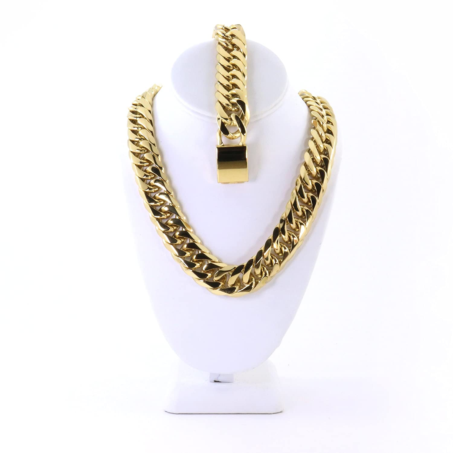 Solid 14k Yellow Gold Finish Stainless Steel 21mm Thick Miami Cuban Link Chain Necklace And Bracelet Set 36''