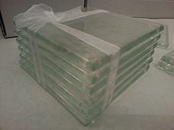 Clear Glass Coasters in 6mm fused glass set of 6