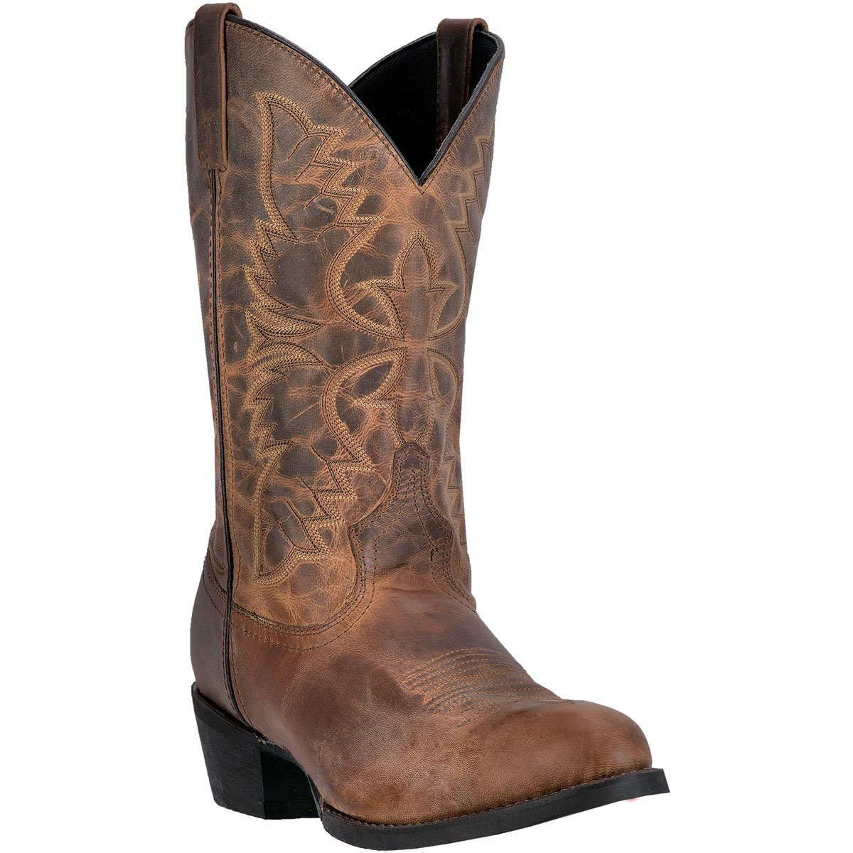 Laredo Men's 12'' Birchwood Western Embroidered Round Toe Cowboy Boots, Tan Leather, 10.5 D