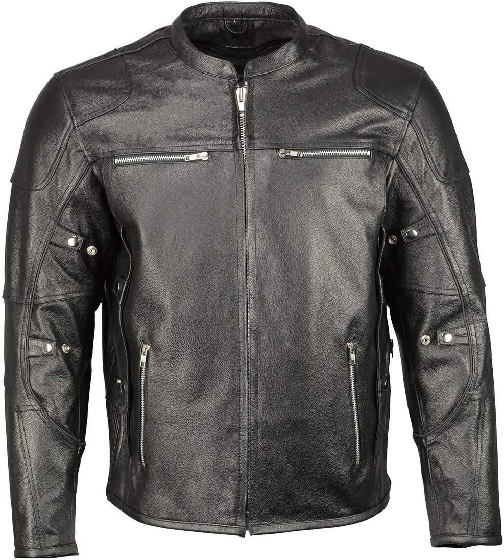 M Boss Apparel BOS11506 Men's Triple Vent Leather Jacket with Stretch Sides and Armor - 3X-Large