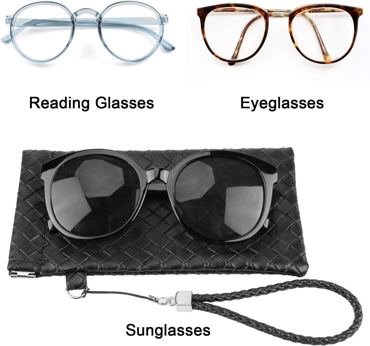 Kunstleder Brillenbeutel Brillentasche f/ür Herren Damen HIFOT brillenetui 2 St/ücke PU Leder soft Sonnenbrille Beutel Lesebrillen Tasche