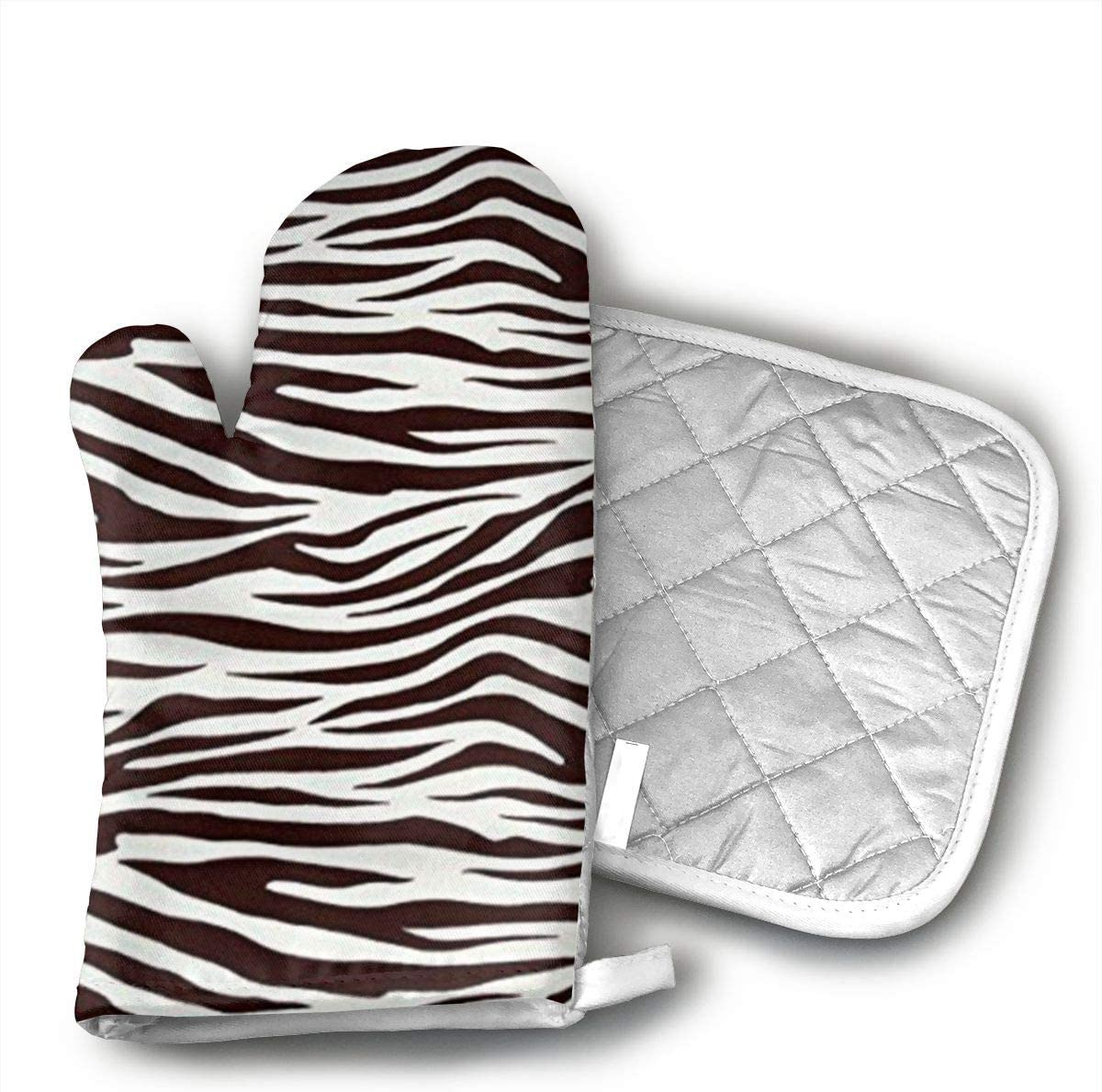 BOAOHG Metro Living Zebra Chocolate Oven Gloves and Pot Rack Or Oven Gloves On 100% Cotton High Heat Resistance