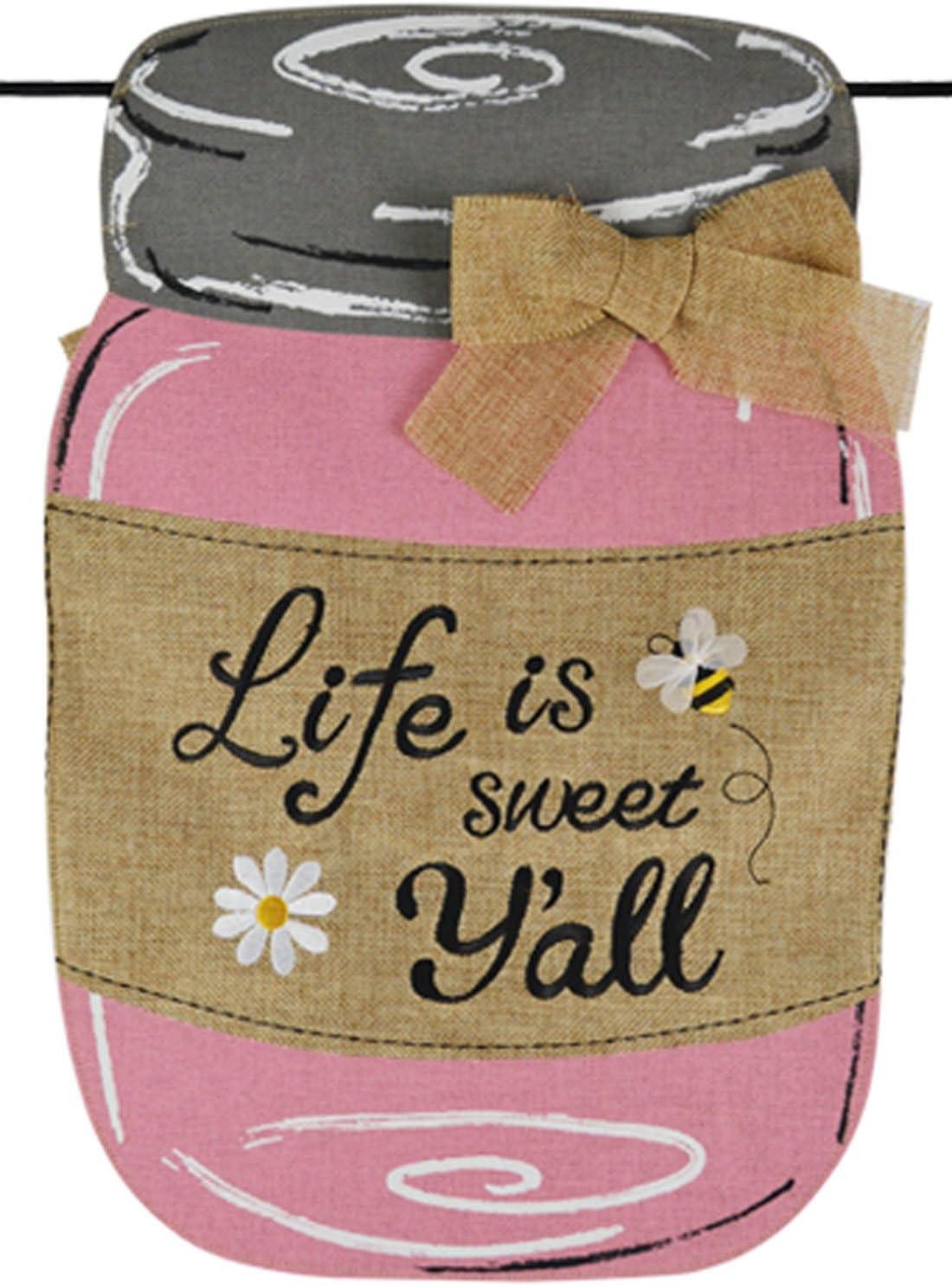 Home Garden Flags Pink Mason Jar Life Is Sweet Yall Burlap Summer Garden Flag 12.5 x 18