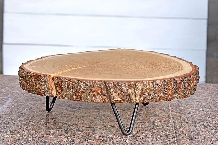 42cm Mini Table Basse En Bois Massif Avec Pieds En Métal Tranche De