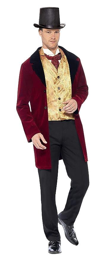 Smiffys Smiffys-43419M Traje Caballero Edwardian, con Chaqueta, Falso Chaleco y Corbat, Color Rojo, M - Tamaño 38