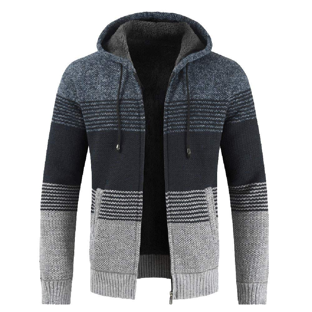 Fashion Men's Slim Warm Hooded Outwear Stand Collar Knit Cardigan Zip Drawsting Coat Sweater